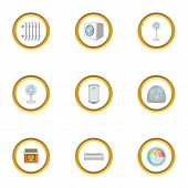 Heating Icons Set. Cartoon Style Set Of 9 Heating Icons For Web Design poster