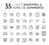 Online Shopping Line Icons Set. E-commerce And Shopping Vector Icons Set. Outline Web Icons Set. Vec poster