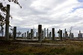 stock photo of katrina  - The pillars are all that remain of this beach home after Hurricane Katrina removed the house - JPG