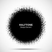 Halftone Circle Frame Abstract Dots Logo Emblem Design Element. Half Tone Circular Icon. Grunge Roun poster