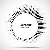 Halftone Circle Frame Abstract Dot Logo Emblem Design Element. Half Tone Circular Icon. Original Rou poster