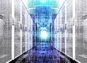 Visualization Of Data Warehouse With Bytes Of Files And Data. Futuristic Cubes Of Particles On The B poster