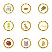 Grooming Icons Set. Cartoon Style Set Of 9 Grooming Icons For Web Design poster