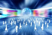stock photo of intranet  - Virtual business concept with people doing business activity in virtual internet world - JPG