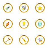 Glowing Object Icons Set. Cartoon Style Set Of 9 Glowing Object Icons For Web Design poster