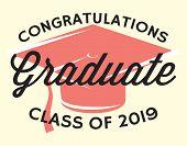 Graduation Vector Class Of 2019 Congrats Grad Congratulations Graduate. poster