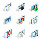 Pc Monitor Icon Set. Isometric Set Of Pc Monitor Icons For Web Isolated On White Background poster