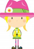 Cartoon Sixties Flower Power Hippie Girl In Pink Flower Hat poster