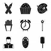 Private Kindergarten Icons Set. Simple Set Of 9 Private Kindergarten Icons For Web Isolated On White poster