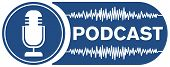 Podcast Recording Symbol With Microphone And Audio Waveform poster