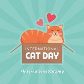 Happy International Cat Day Social Media Post With Cute Cat Purring In A Box poster