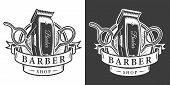 Vintage Barbershop Monochrome Badge With Electric Hair Clipper And Scissors Isolated Vector Illustra poster