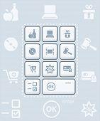 Постер, плакат: Современные глянцевая клавиатура или набору значков для онлайновых покупок