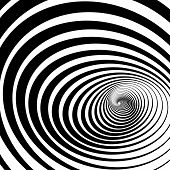 foto of twisty  - A twisty black and white tunnel is featured in an abstract background op art vector illustration - JPG