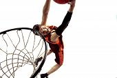 Full Length Portrait Of A Basketball Player With Ball Isolated On White Background. Advertising Conc poster