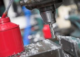 foto of mechanical engineer  - A drilling machine in an engineering workshop - JPG