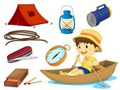 illustration of a boy and various objects of camping on a white background