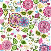 stock photo of lilas  - Seamless valentine pattern with colorful flowers and butterflies and hearts  - JPG
