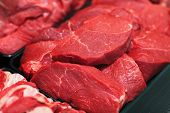 image of veal meat  - Raw red meat on shelf in supermarket - JPG