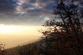 Постер, плакат: Закат в горах Пещерный город Эски Кермен Vi xiv вв Крым Украина