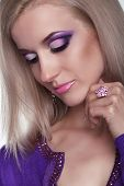 foto of eye brow ring  - Glamour portrait of beautiful woman model with eye shadows makeup - JPG