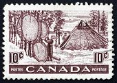 Postage stamp Canada 1950 Indians Drying Skins on Stretchers