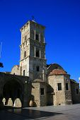 picture of larnaca  - Saint Lazarus Church in Larnaca Cyprus with a beautiful blue sky - JPG