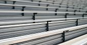 stock photo of bleachers  - Bleachers in a stadium or school for the fans  - JPG