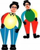 picture of mummer  - A pair of colorful jesters dancing around - JPG
