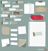 Set of various note papers, ready for your message. Vector EPS10