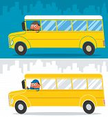 foto of bus driver  - Cartoon school bus and its driver. Illustration is in 2 color versions. 
