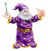 stock photo of merlin  - A cartoon wizard or sorcerer holding a wand and giving a happy thumbs up - JPG