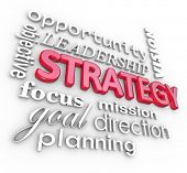 stock photo of objectives  - The word Strategy and related terms in a 3d collage background - JPG