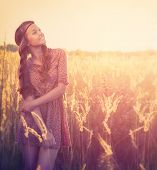 stock photo of fall-wheat  - Beauty Romantic Girl Outdoors - JPG