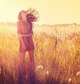 stock photo of hair blowing  - Beauty Romantic Girl Outdoors - JPG