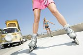 picture of campervan  - Low angle view of young women on in - JPG