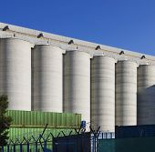 View of grain silos against clear blue sky at Limassol; Cyprus