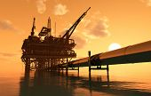 picture of drilling platform  - Oil production and the pipe in the sea - JPG