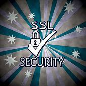 3D Graphic Of A Striped Ssl Label  On Retro Star Background