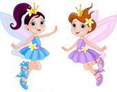 stock photo of little angel  - Illustration of two cute fairies in fly - JPG