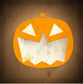 stock photo of bitch  - Smiling Halloween Pumpkin on vintage brown background - JPG