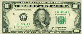 image of one hundred dollar bill  - an old 100 dollar bill from the series 1950 D - JPG