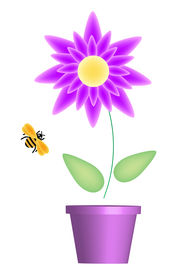 picture of flower pot  - illustration of flower pot and bumble bee - JPG