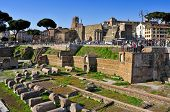 ROME, ITALY - APRIL 17: Roman Forum on April 17, 2013 in Rome, Italy. The Roman Forum is one of most