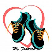 stock photo of cardio exercise  - Runners sneakers tennis shoes  heart behind  - JPG