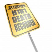 picture of swine flu  - H1N1 death recorded road sign image with hi - JPG