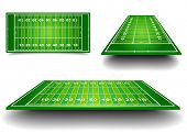 stock photo of football pitch  - detailed illustration of an American Football fields with different perspective - JPG