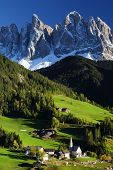 Santa Maddalena village in front of the Geisler or Odle Dolomites Group, Val di Funes, Italy, Europe
