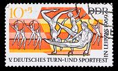 Gdr Stamp, Mass Gymnatstic Exercises In Leipzig