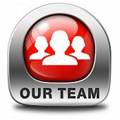 Our team red icon or work or business our team banner about us sign or button